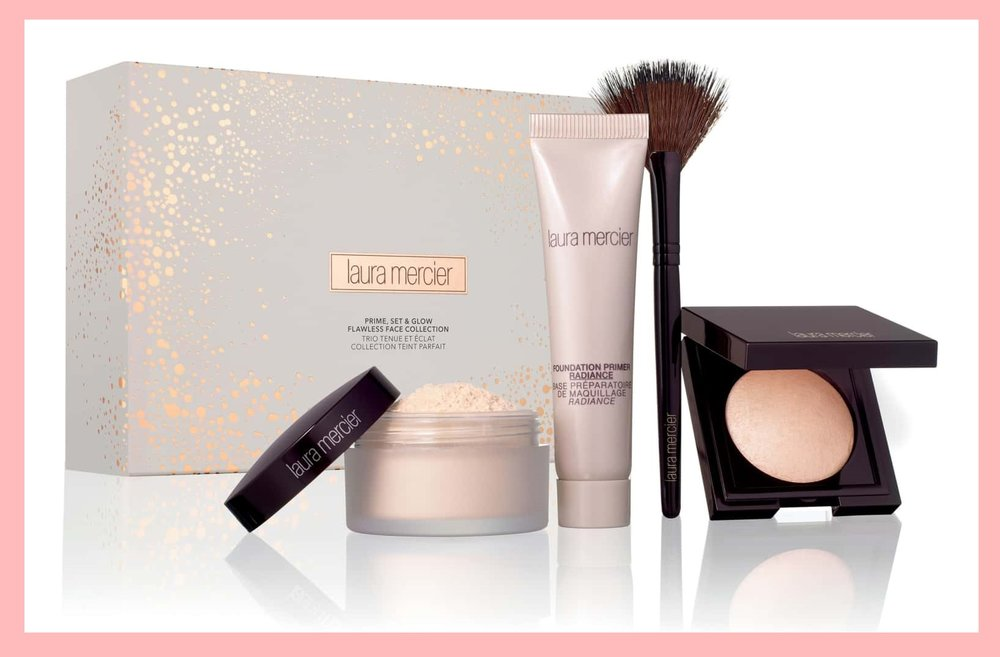 Nordstrom ~  Laura Mercier Prime Set Glow Set  ($56 value) $45 + Free 5-Piece Laura Mercier Gift with any $85 Laura Mercier Purchase + 3 free samples + Free shipping and returns   What it is : A set featuring everything you need to prime and set your skin for a glowing complexion.   What it does : Translucent Loose Setting Powder is a silky, lightweight setting powder with sheer coverage and goes on easily with the included velour puff. Foundation Primer in Radiance is a luminous powder that delivers a radiant look and flawless makeup application, and best suits light-to-medium skin tones. Matte Radiance Baked Powder is an ultra-smooth baked face powder that provides natural color with a soft, matte radiance, and a fan brush picks up and softly applies product onto the skin for a flawless application.   Set includes :  - Translucent Loose Setting Powder (0.33 oz.)  - Foundation Primer in Radiance (0.5 oz.)  - Matte Radiance Baked Powder (0.06 oz.)  - Velour Puff  - Fan Brush