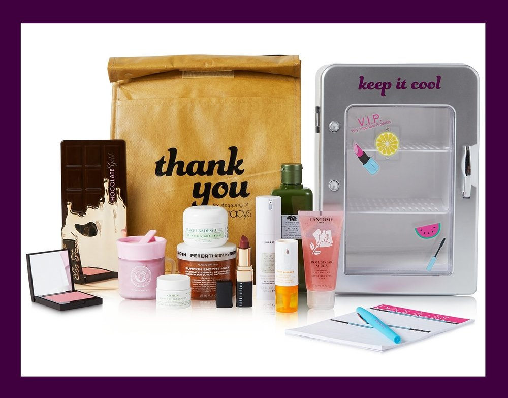 """Macy's ~  Macy's Beauty Collection    Macy's Beauty Influencer Keep it Cool Set with Skincare Fridge and Food-Inspired Products  (Created For Macy's)  $355   + FREE 3-Piece Gift With Any $85 Beauty Or Fragrance Purchase   + FREE Stainless Steel Water Bottle With Any $125 Beauty Purchase   + Free shipping and returns on any beauty order (GWP Offers are while supplies last!)  This fridge allows your products to stay chilled throughout the day and night while keeping them cool and fresh! Products include: TONYMOLY Latte Art Strawberry Latte Cream Scrub, Clinique Fresh Pressed Vitamin C Daily Booster, Peter Thomas Roth Pumpkin Enzyme Mask Enzymatic Dermal Resurfacer, Mario Badescu Seaweed Night Cream, Kiehl's Since 1851 Creamy Eye Treatment With Avocado, Korres Greek Yoghurt Smoothie Priming Moisturizer, Lancôme Exfoliating Rose Sugar Scrub, Too Faced Chocolate Gold Eye Shadow Palette and Bobbi Brown Lip Color in Rum Raisin. Laura Mercier Blush Colour Infusion in Strawberry, and Origins Dr. Weil Mega-Mushroom Relief & Resilience Soothing Treatment Lotion   SET INCLUDES:   Macy's Beauty Keep it Cool Skincare mini fridge, insulated Macy's """"Grocery"""" Bag, Beauty List notepad and marker, and 11 food-inspired makeup and skincare products!   WHAT IT DOES:   Keeps your products cool and fresh for everyday use"""