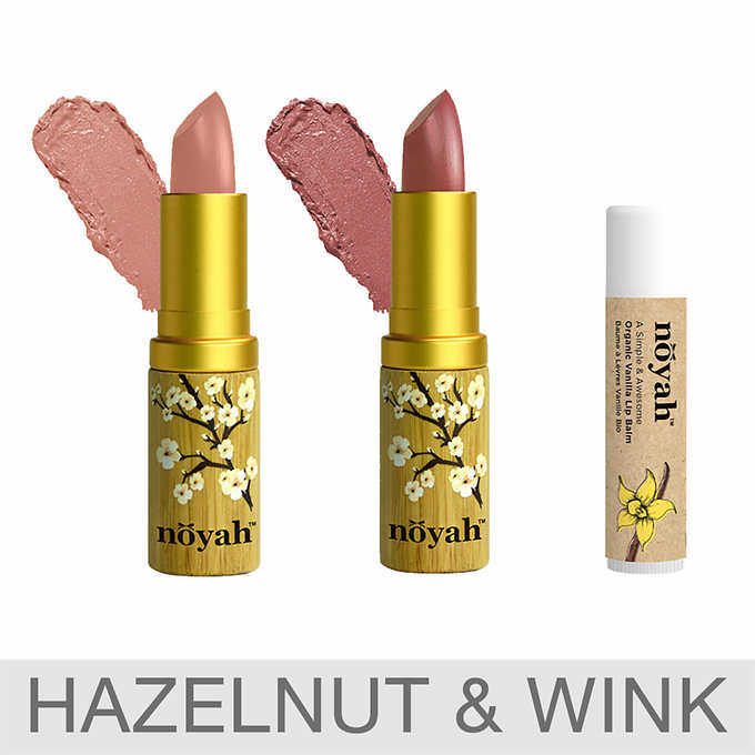 Costco (No membership required) ~  Noyah Natural Lipstick Set and Lip Balm  ($39.99 value)  $20.99 + Free shipping  (I'm loving the Hazelnut and Wink for Spring!)  Features: 2 full-size lipsticks and 1 full-size lip balm  (2) Lipsticks & (1) Lip Balm  Available in 3 Shades  Comes in Earth-Friendly Bamboo Packaging  Natural Ingredients    HAZELNUT CREAM LIPSTICK    ~ $18.00 value   This multi-dimensional, cream-finish lipstick has a rose-hazelnut shade with a slight touch of frost, and is the perfect go-to everyday color.    WINK LIPSTICK    ~ $18.00 value   The only nude you'll need for every season.    ORGANIC VANILLA LIP BALM    ~ $3.99 value   Their vanilla-flavored lip balm smooths and softens your lips as it satisfies even the most stubborn sweet tooth.