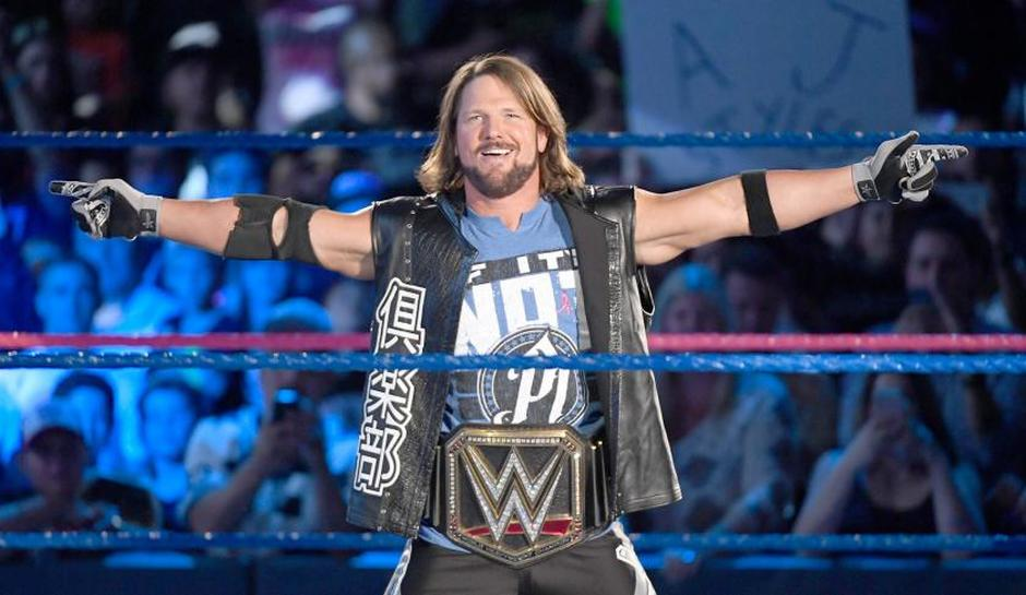 SMACKDOWN MEN'S CHAMPION: AJ Styles - AJ Styles vs. John Cena vs. Jinder Mahal w/ The Singh Brothers (the last performance and most entertaining)