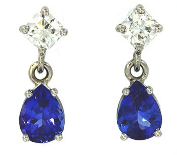 Tanzonite and diamond earrings