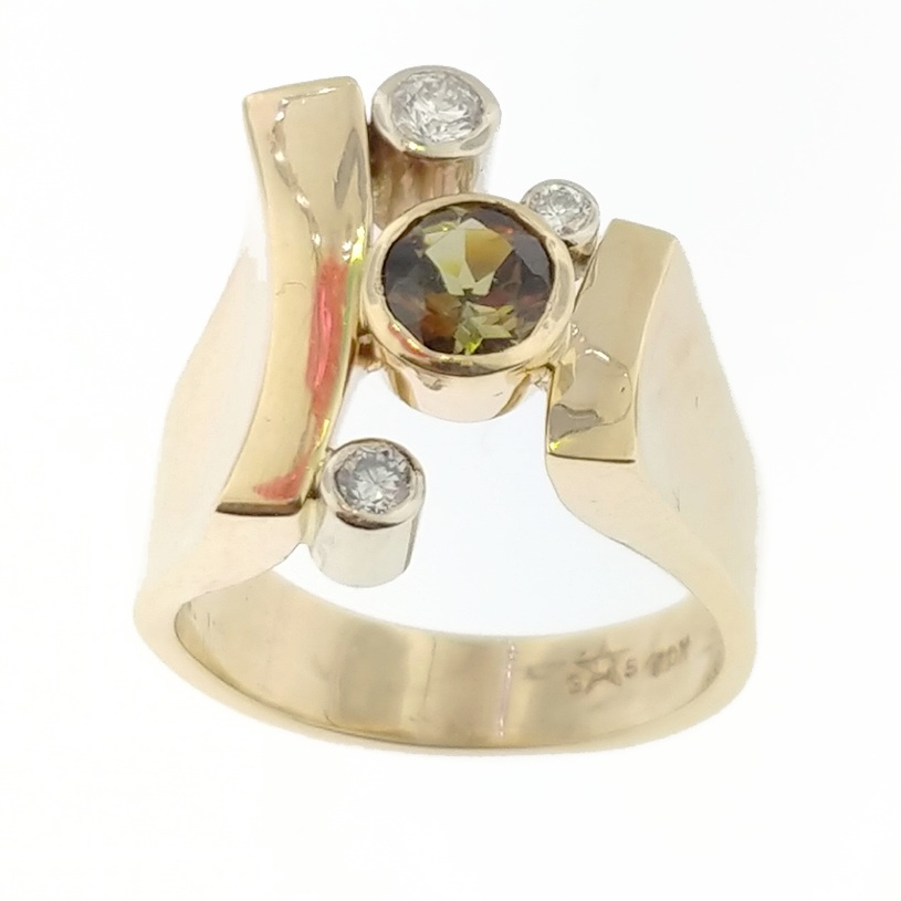CUSTOM DESIGNED ANDALUSITE AND DIAMOND RING