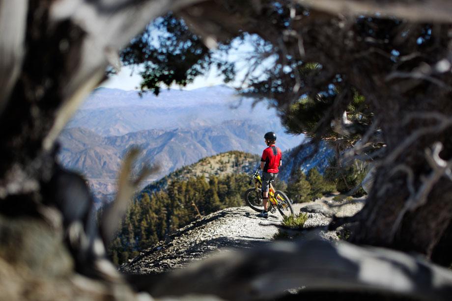 mountain biker at top of mountain sony walkman