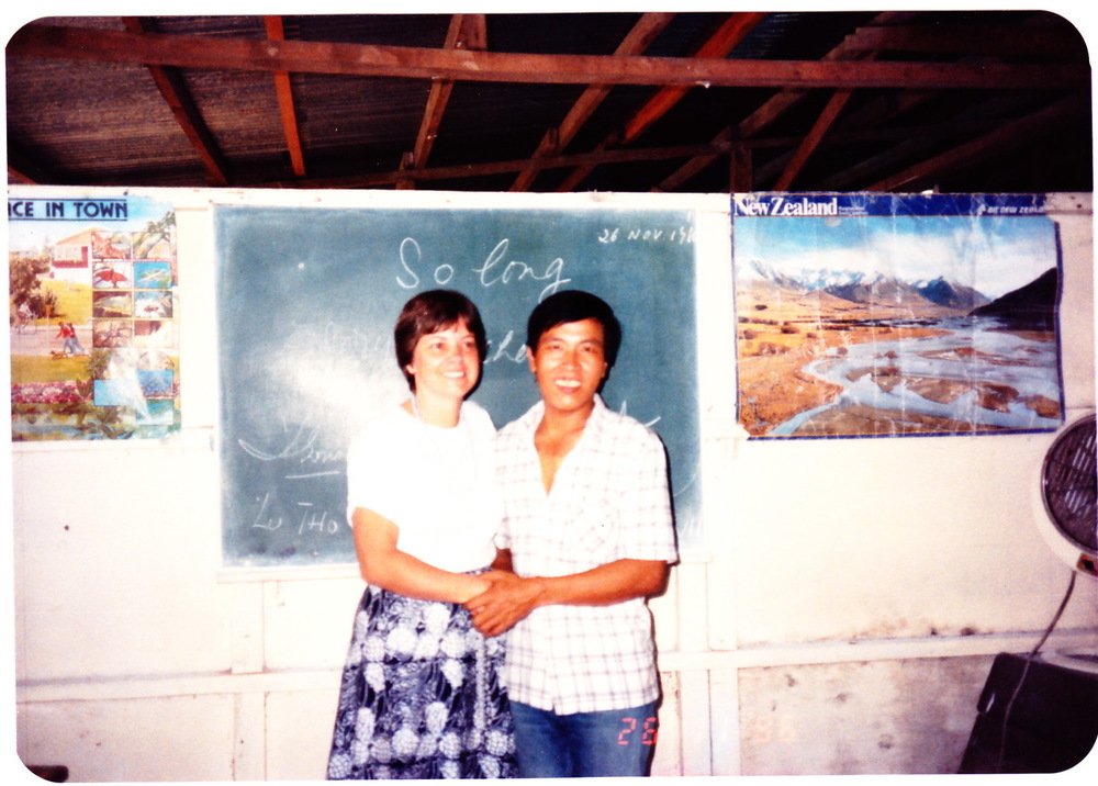 At the Singapore refugee camp classroom in 1986