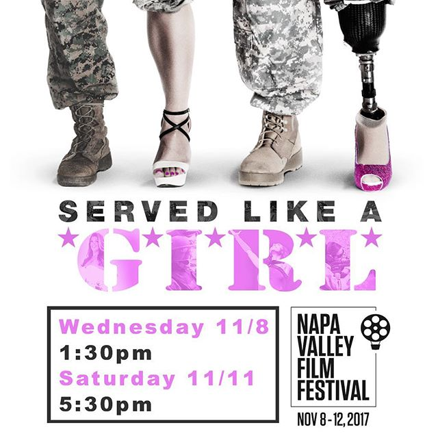 #ServedLikeAGirl will be screening at @napafilmfest Wednesday and Saturday this week! Visit their website to find out how to get tickets! #napa #sonoma #marin #sanfrancisco #oakland #napafilmfest