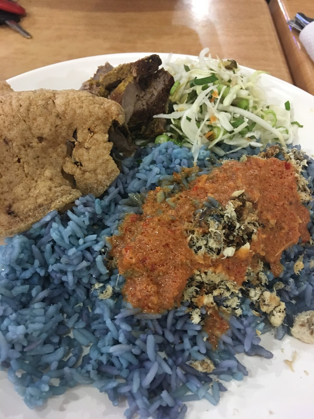 Fantastic blue rice of Nasi Kerabu