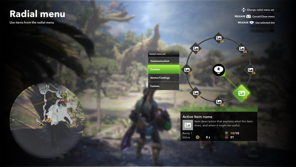 Screenshot of Radial menu low-to-mid-fi concept for Monster Hunter: World. A step up from wireframes, the colours and styling do not match the game's style guide but rather imply what functionally needs to be displayed.