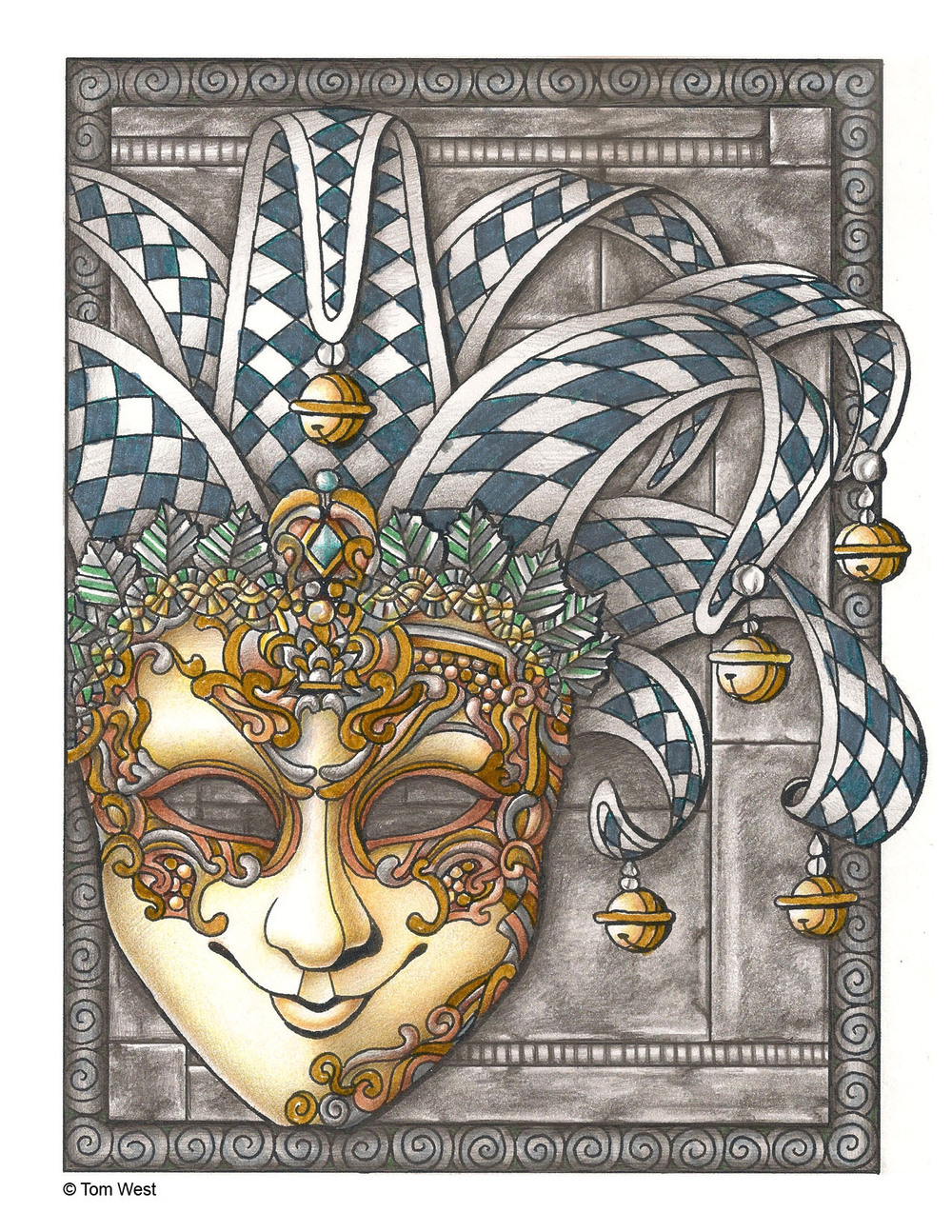 Mask Coloring Book Page