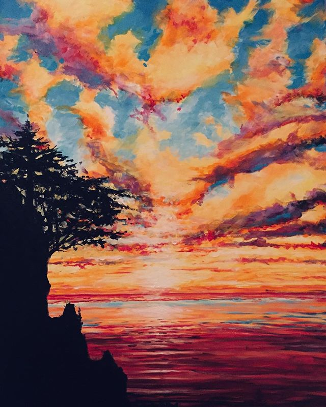 "Completed a new painting this week. 24""w x 36""h. Come find me this weekend at The Portland Saturday Market booth # 815. #pnw #portlandsaturdaymarket #painting #acrylicpainting #homedecor #sunsetart #sunsets #originalart #colorful #pnwartist #pdx #pacificcoast #instaart #contemporaryart #landscapeart #artistsofinstagram #clouds #cloudart #tomwest #tomwestartworks"