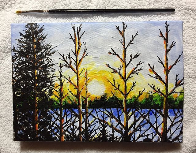 New mini hand painted canvas. Trying something new. What do you think? #minipainting #acrylicpainting #landscapepainting #sunsetart #sunsetpainting #art #originalart #pnwartist #pdxart #artwork #winterart #instaart #artofinstagram #tomwest #tomwestartworks #fineart #art_spotlight