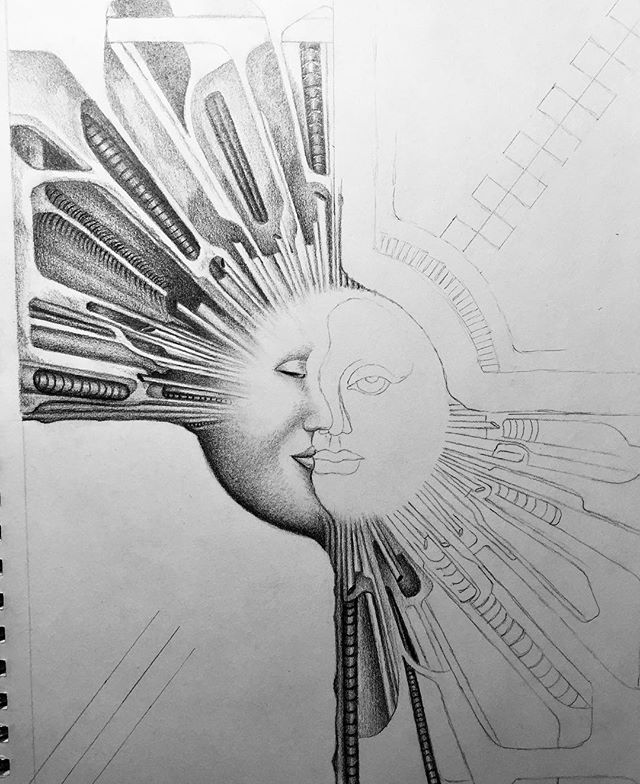 New sketch that I'm playing around with. A take on my original celestial illustration I created a while ago.  #originalart #originalsketch #newart #pencilart #celestial #pnwartist #monochromatic #biomechanical #instaart #pencilart #tomwest #tomwestartworks