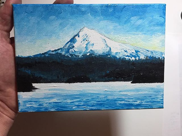 Mini canvas in progress. What do you think? #mthood #pnwartist #mountainart #acrylicpainting #beautifulart #paintings #landscapedesign #localartist #tomwest #tomwestartworks