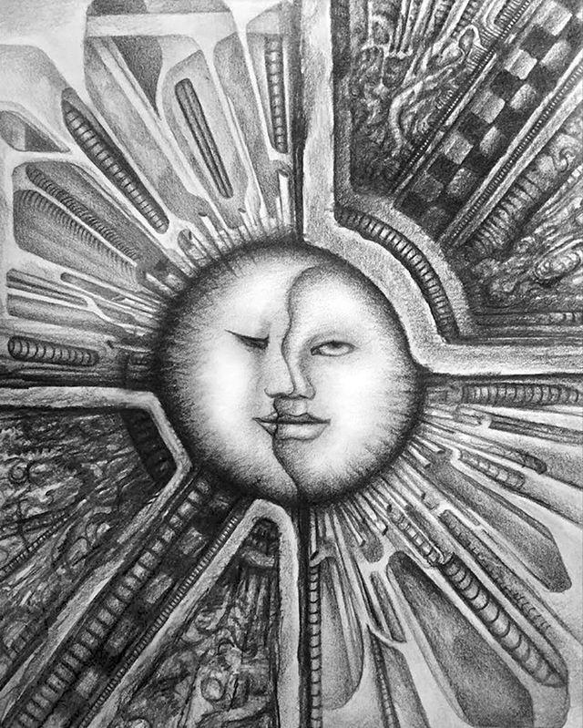 """Dark Celestial"" Graphite on paper.  #drawing #pencildrawing #celestialart #sunandmoonart #darkart #biomech #monochromatic #originalart #pnwartist #pdxartist #instaart #originalart #artlovers #tomwestartworks"