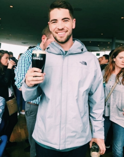 Drinking the good stuff at the Guinness Gravity Bar in Ireland.