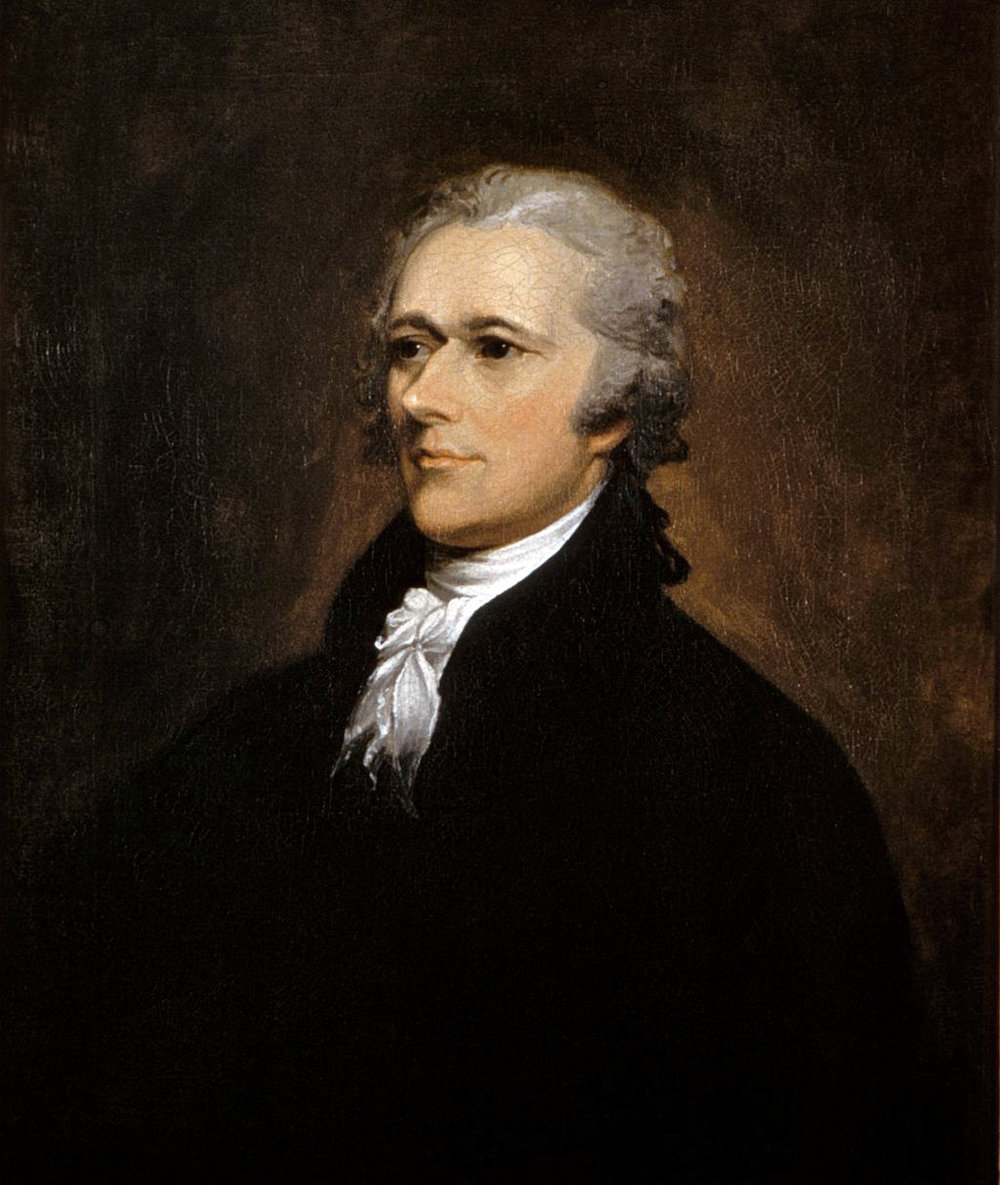 JOHN TRUMBULL  Alexander Hamilton, 1806 Oil on canvas Washington University Law School  Over a period of ten months, Hamilton wrote 51 of the 83 essays (83,570 words in all) that comprise  The Federalist Papers . It is estimated that Hamilton spent 54,000 hours quill to paper, tirelessly exhibiting immaculate penmanship.