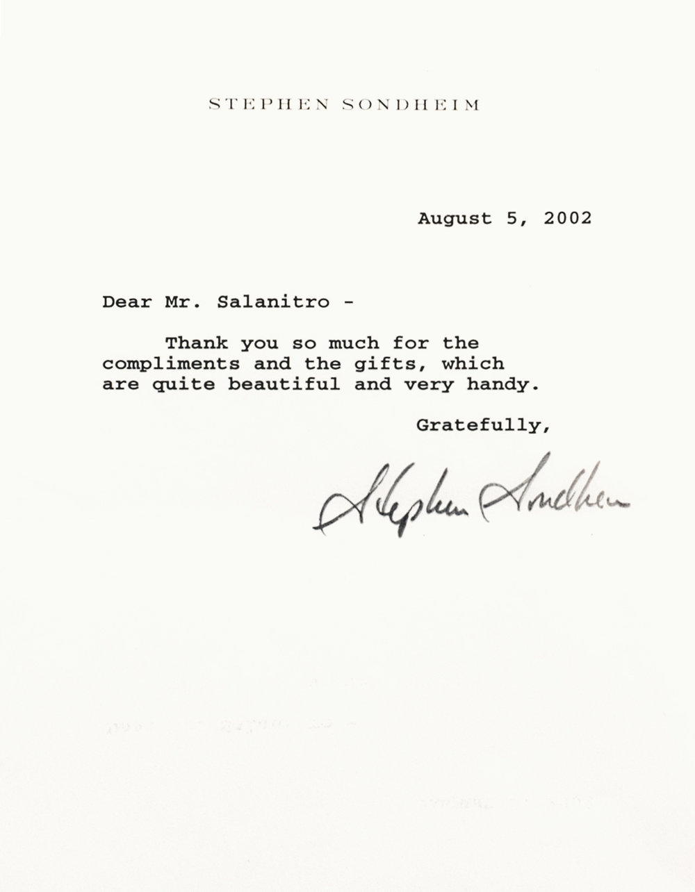 LETTER  Stephen Sondheim, 2002 Engraving; Ink on paper 6.5 × 9 in Dave Salanitro, Oh Boy Artifacts