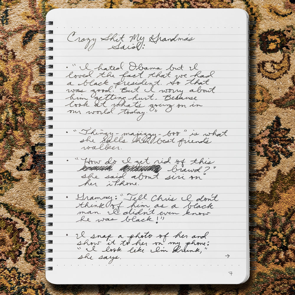 JESSIE SCHIEWE  Crazy Shit my Grandma's Said, April 4, 2018 Ink on paper  100 Pages, One Most Excellent Notebook, and the Singular Ms. Schiewe,  Oh Boy Artifacts Notebook  READ MORE  →