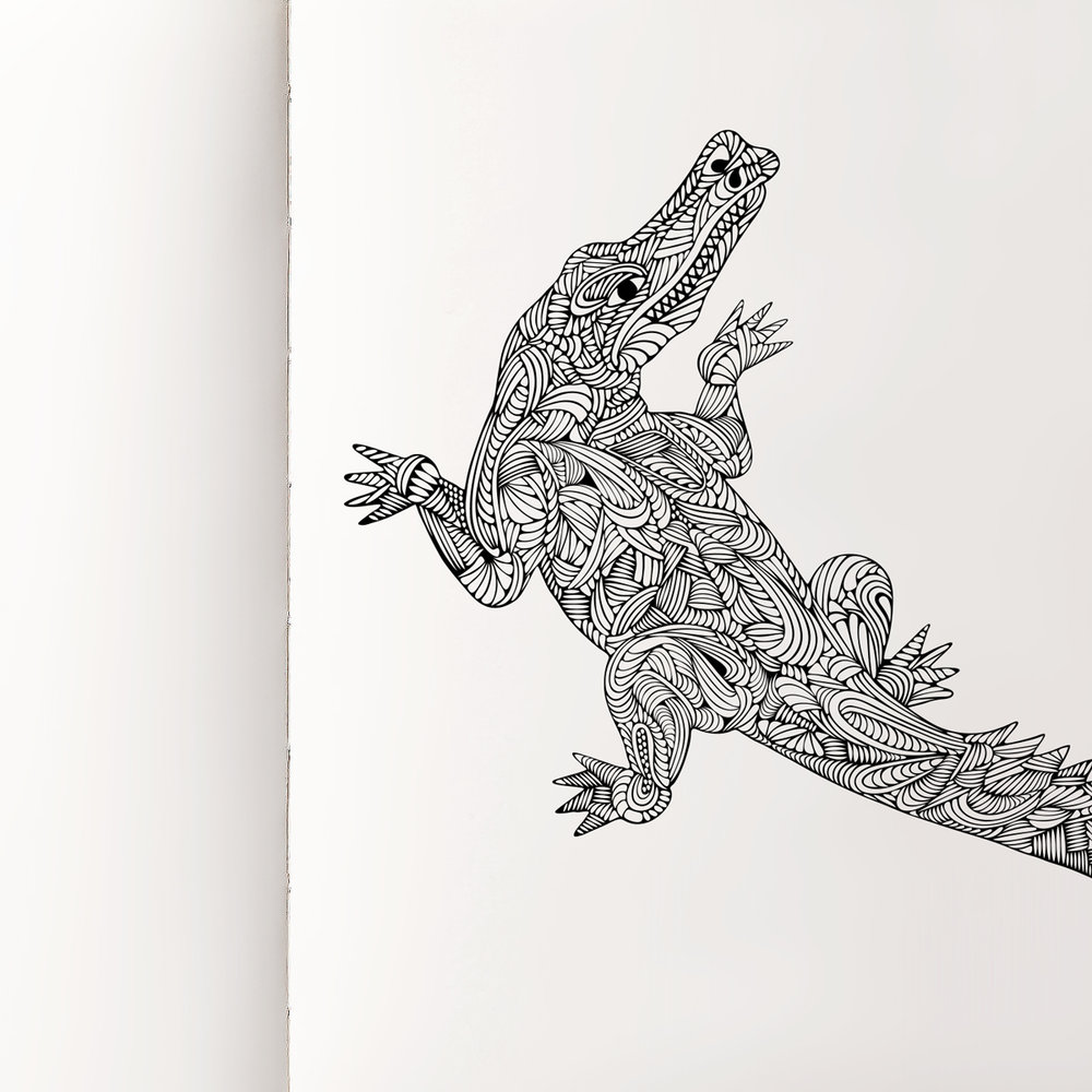Crocodile, 2018 Ink on paper  Pocket Book, 2018 5.5 × 3.5 inches Collection of Oh Boy Artifacts