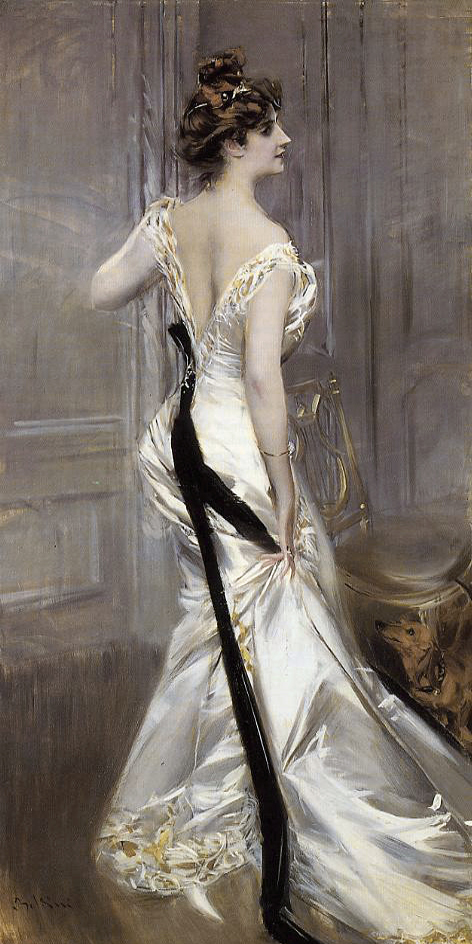 GIOVANNI BOLDINI  The Black Sash, 1905 Portrait of Ava Lister, Baroness Ribblesdale; née Ava Astor Oil on canvas  The inspiration for our thick black band.
