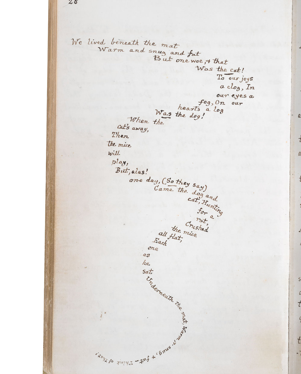 LEWIS CARROLL  The Mouse's Tale,  Alice's Adventures Under Ground,  1864 A handwritten page from the author's  notebook. Ink on paper The British Library