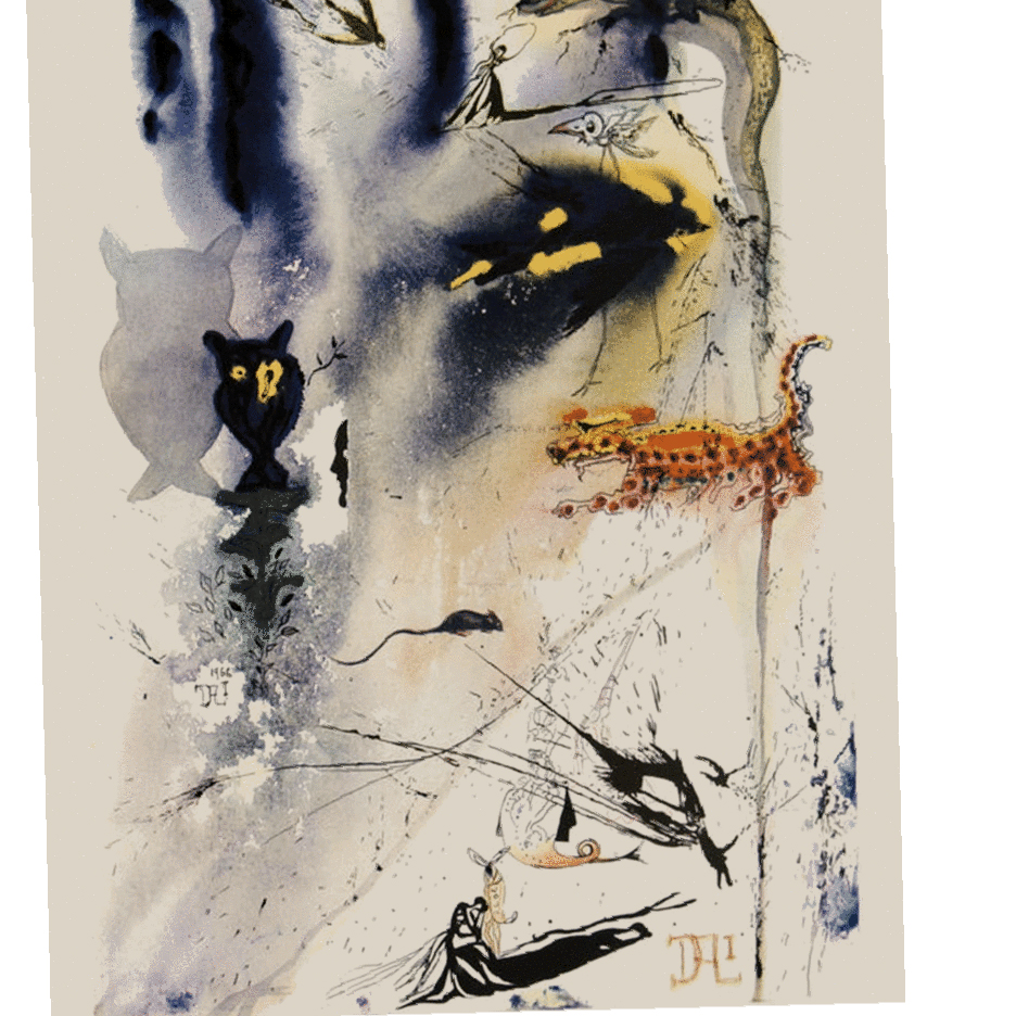 SALVADOR DALI   A Caucus Race and a Long Tale for  Alice's Adventures in Wonderland,  1969 17 × 11.5 inches Gouaches on paper, signed in pencil, published as heliogravure with woodcut remarques  In 1964 a collaboration of epic proportion took place as the Lewis Carroll classic was illustrated by Salvador Dali. The suite contains 12 heliogravures—one for each chapter of the book and an original signed etching in four colors as the frontispiece. Visit  http://bit.ly/dalisalice  to view the rest of the collection.