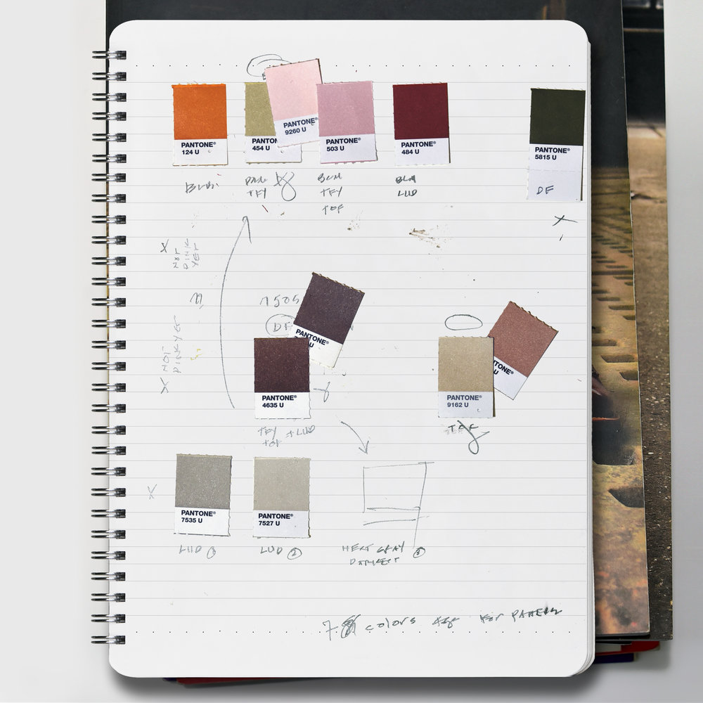 DAVE SALANITRO  Notebook entry April 21, 2018 Match color map (in progress) Graphite and Pantone® chips on paper Oh Boy Artifacts Journal