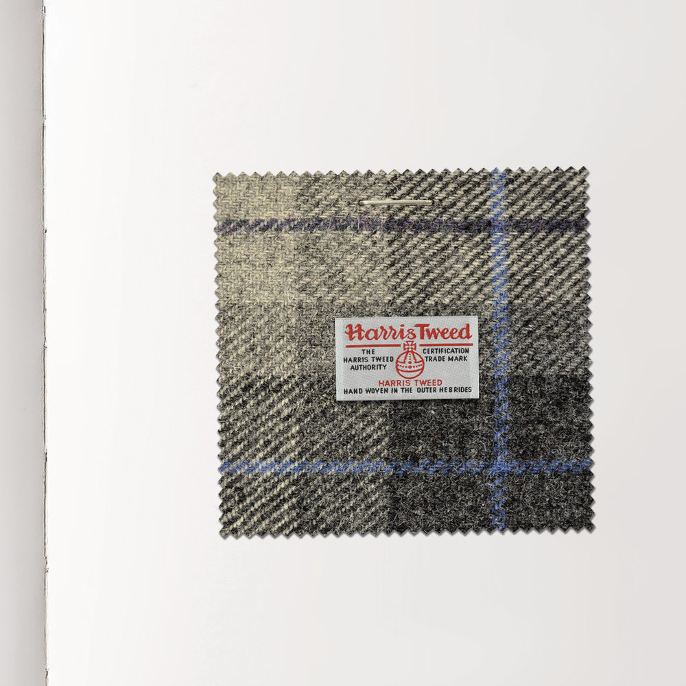 DAVE SALANITRO  Journal entry May 2, 2018 2.5 × 2.5 inches Harris Tweed woven wool, plaided swatch Collection of the designer