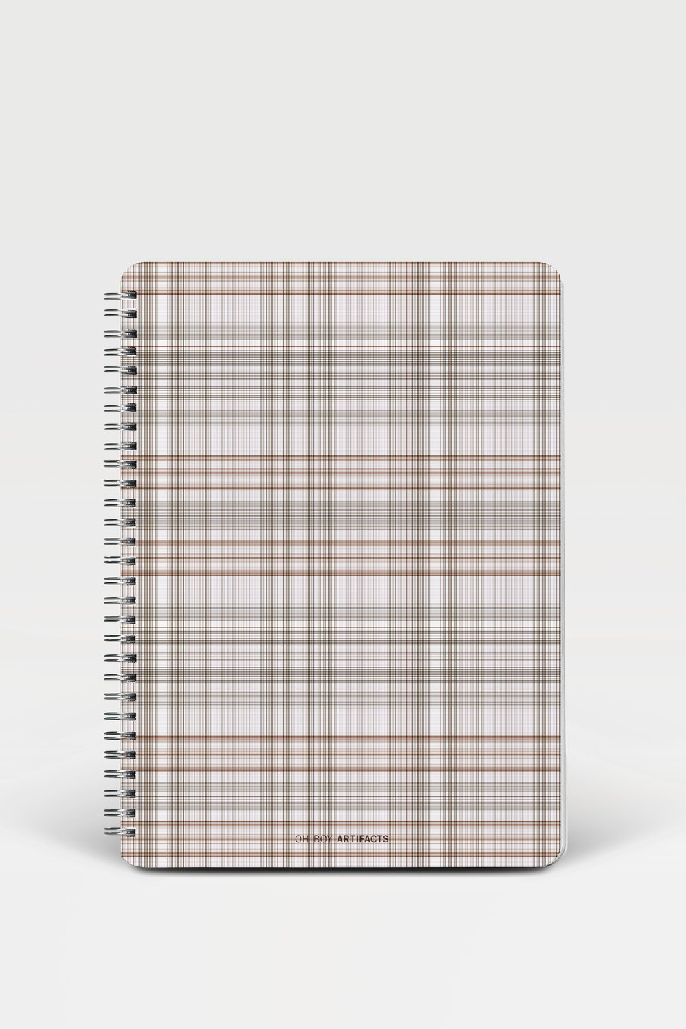 OH BOY ARTIFACTS  Notebook In Ludlow plaid in  B  utorfléoge  (below), 2018 9.25 × 7.25 inches Lithography Oh Boy Artifacts 2018 collection  132 ruled 80 lb text weight, lay-flat, Wire-O bound pages with hardboard, stain-resistant, moisture-repellent covers