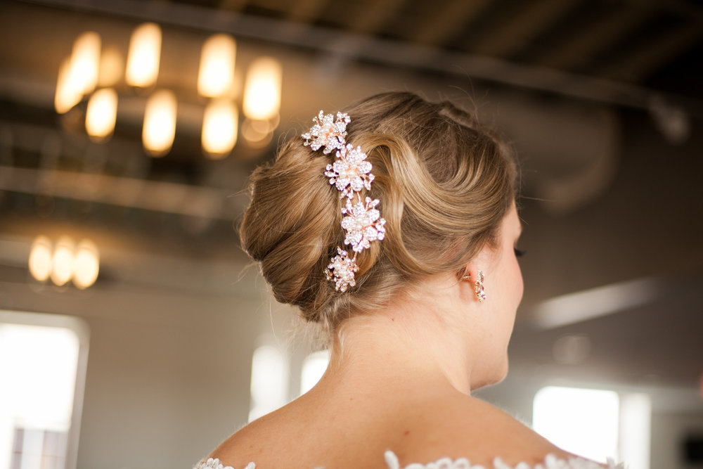 Hairstylist in Toledo, Ohio. Bridal Hair and Makeup at Hensville in Downtown Toledo, OH. Makeup by Amy Lewis & Co. 1..JPG