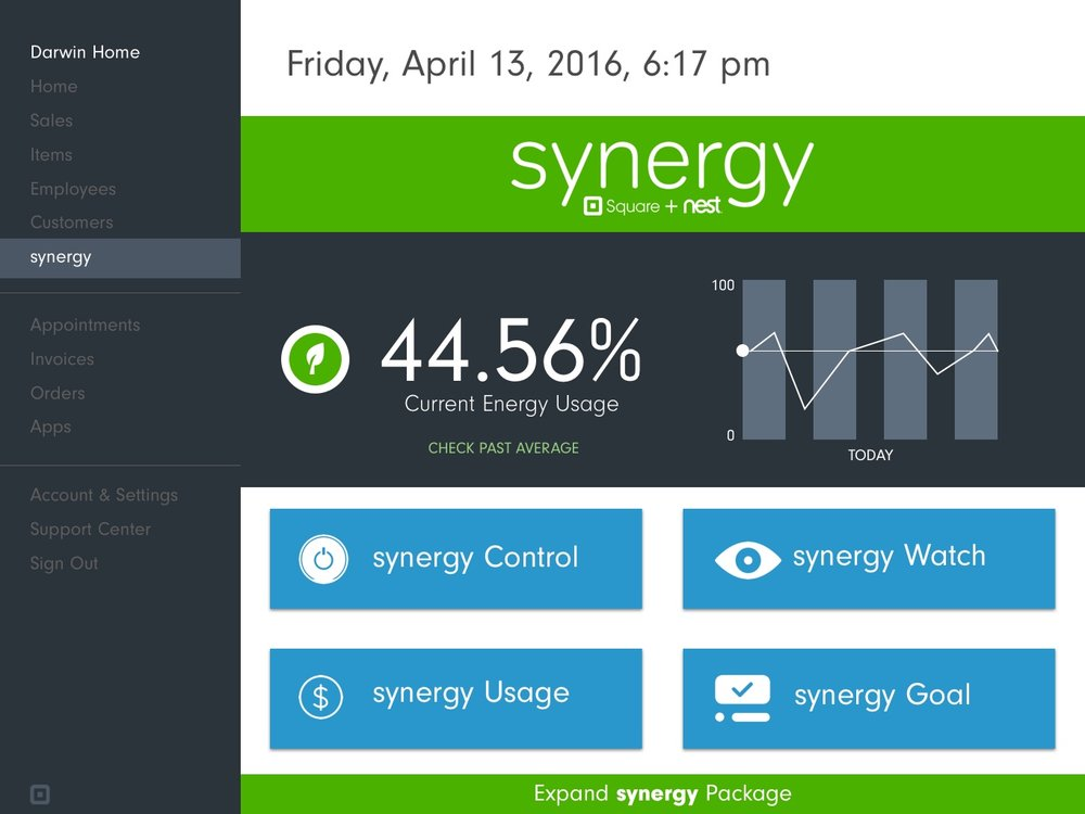 Synergy page, where you can monitor consumption and usage in monetary terms, as well as set monthly goals.
