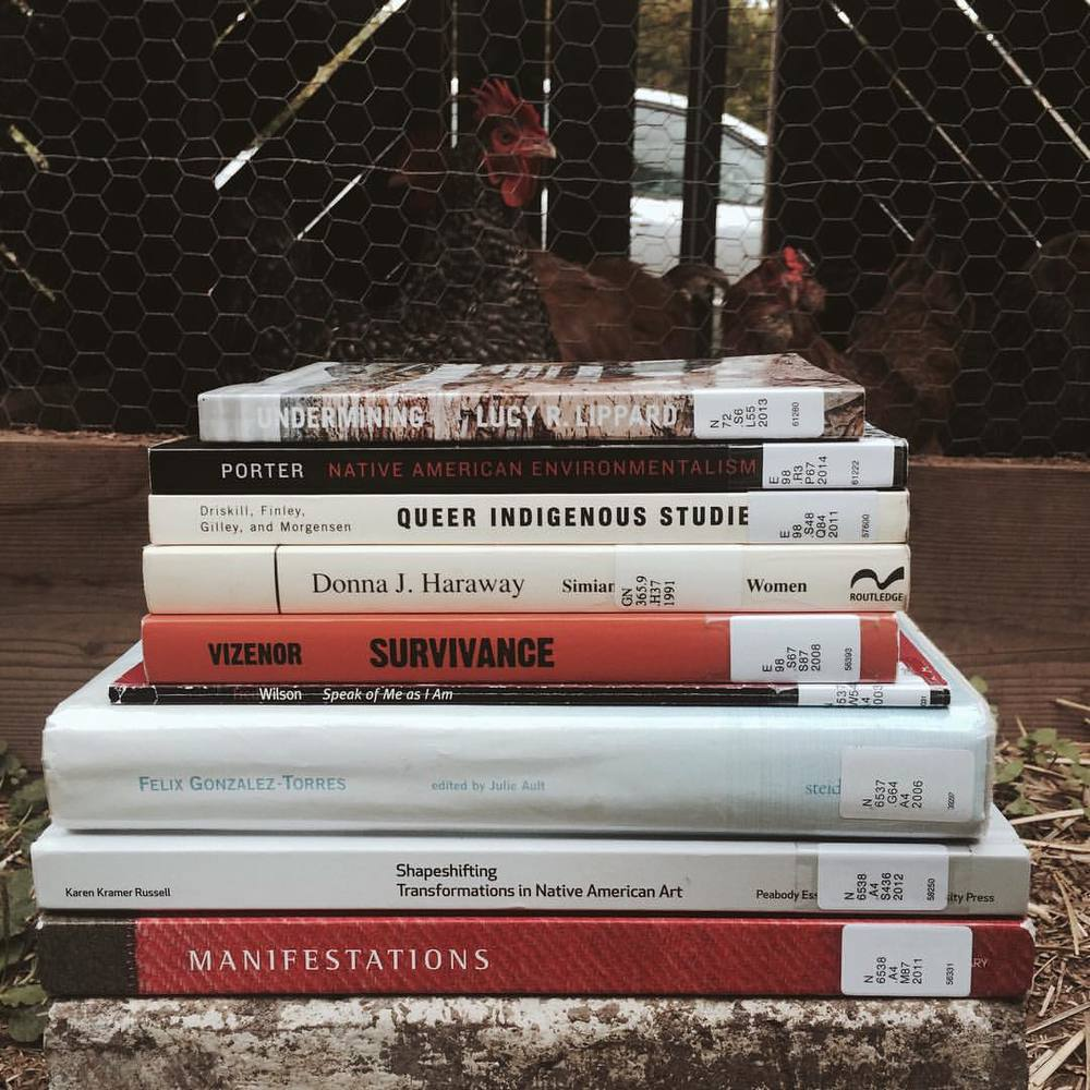 heterogeneoushomosexual :      Demian DinéYazhi' Still-Life  (Autumn Bibliography 2015) , 2015     Got my autumn reading list this afternoon. I'm opening a door and pointing into the distance somewhere and I ain't ever coming back. Research is golden! Theory makes practice!      Bibliography:      Lippard, Lucy R.    Undermining: A Wild Ride Through Land Use, Politics, & Art in the Changing West .   New York: The New Press, 2014.   Porter, Joy.    Native American Environmentalism: Land, Spirit, & the Idea of Wilderness .   Reprint edition. Lincoln: Bison Books, 2014.      Queer Indigenous Studies: Critical Interventions in Theory, Politics, & Literature .   Tucson: University of Arizona Press, 2011.   Haraway, Donna J.    Simians, Cyborgs, & Women: The Reinvention of Nature .   First edition. New York: Routledge, 1990.   Vizenor, Gerald Robert.    Survivance: Narrative of Native Presence .   University of Nebraska Press, 2008.   Kaplan, Paul, Fred Wilson, Kathleen Goncharov, & Jane Farver.    Fred Wilson: Speak Of Me As I Am .   Edited by Salah Hassan. Cambridge, Mass.: MIT List Visual Arts Center, 2003.   Storr, Robert, Miwon Kwon, & Felix Gonzalez-Torres.    Félix González-Torres .   Edited by Julie Ault. Göttingen: Steidl, 2015.   Russell, Karen Kramer, ed.    Shapeshifting: Transformations in Native American Art .   Salem, Mass. : New Haven, Conn: Yale University Press, 2012.   Wilson, Wil, & Patsy Phillips.    Manifestations: New Native Art Criticism .   Edited by Nancy Mithlo. Santa Fe, NM: Museum of Contemporary Native Arts, 2012.