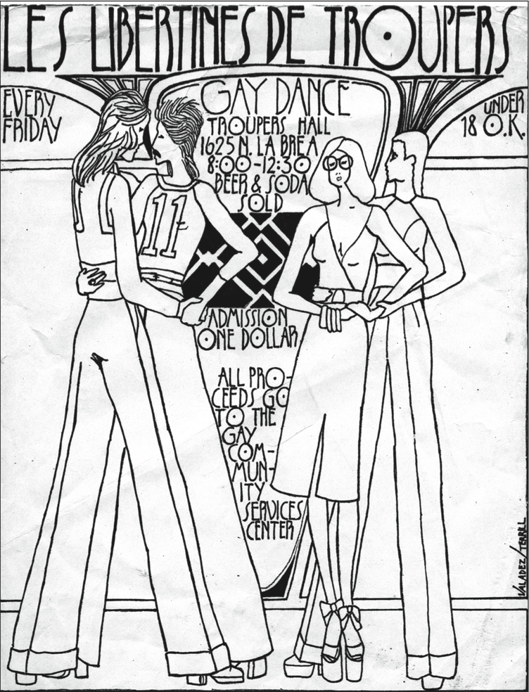 Advertisement for a dance sponsored by the Gay Community Services Center, c. 1974.  Artwork by Efren Valadez and Joey Terrill (reprinted by permission of Joey Terrill).   BEING AND BELONGING: JOEY TERRILL'S PERFORMANCE OF POLITICS RICHARD T. RODRÍGUEZ