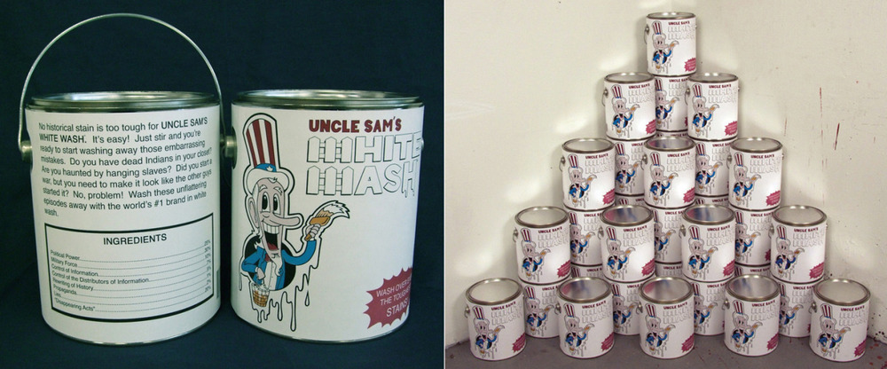 """Uncle Sam's White Wash"" 6 ½"" diameter x 7 ¾"" h.   Offset press print on one gallon can. 2008.   Eric J Garcia  Check out more amazing art on his website  http://ericjgarcia.com/    also  http://elmacheteillustrated.tumblr.com/"