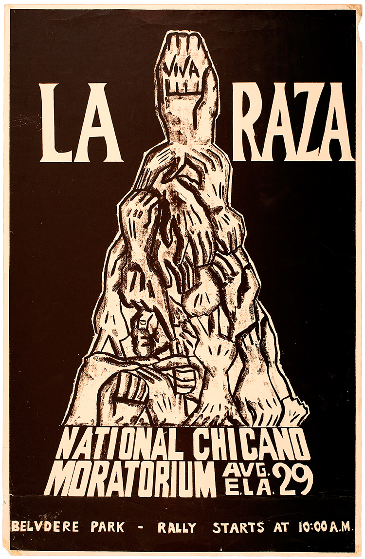 La Raza Graphics, Viva La Raza National Chicano Moratorium, 1970, Digital Print of Silkscreen Print.
