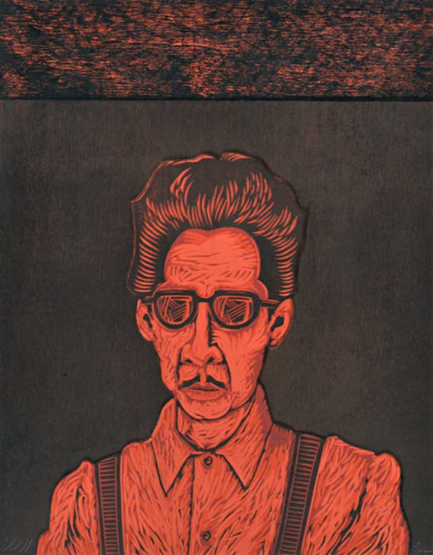 "Bato Rojo linoleum and wood block print, 22 1/8"" x 17 ¼"" Cesar Martinez, 1990"