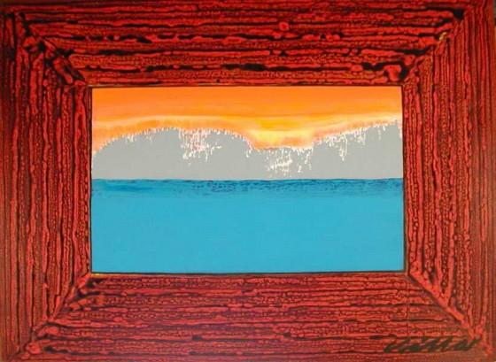 Log Cabin Window Acrylic on Canvas, 3′ x 4′, 1989  Esteban Villa
