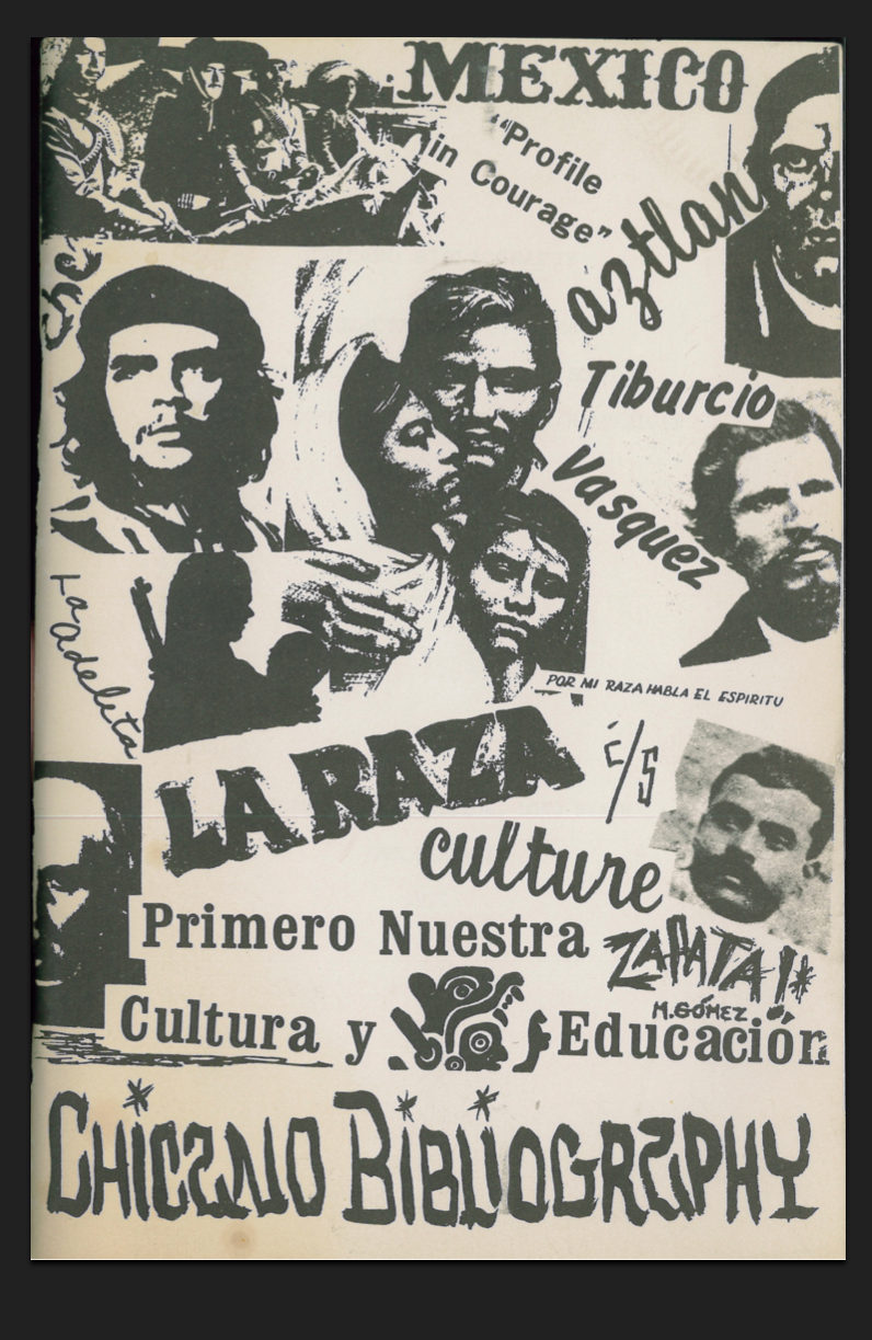 Bibliography of Chicanodom, circa 1970; it features a striking cover design by Marcos Gomez (high-res jpg above) and the work of then librarians Betty Blackman and Charles J. Boorkman. With the assault on Chicano/a Studies now firmly part of our 21st century reality, it is bracing to see our field(s) when they were still nascent/incipient. Even 42 years ago, serious librarians were active, chronicling research materials for a discipline that would change the face of American intellectual culture Amazing Resource! click link below to download pdf file https://docs.google.com/file/d/0B9BvYYtB5pEGWk01NHdEdmhHS1E/edit?pli=1