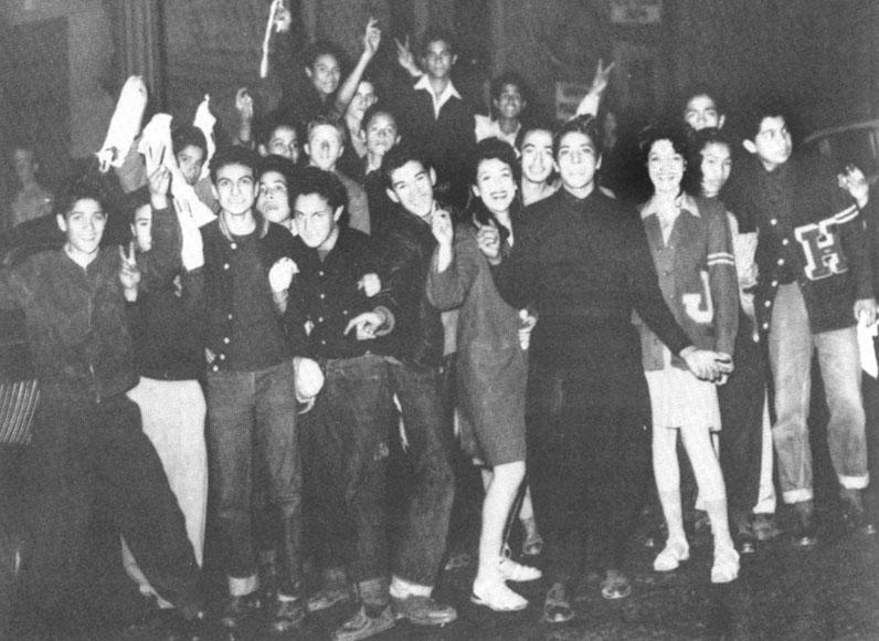 Zoot-suit high school students.