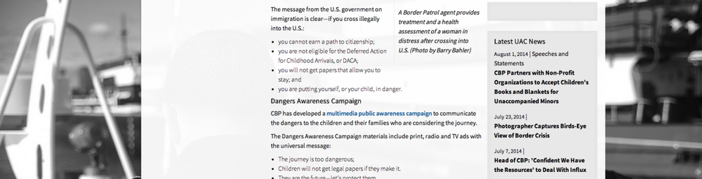 screen shot from customs and borders protection website. What they dont address is the immediate danger the children face in their homeland due gang violence and poverty.