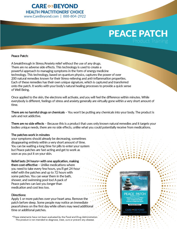 PEACE PATCH TRAINING SHEET     DOWNLOAD PDF OR PRINT, CLICK HERE