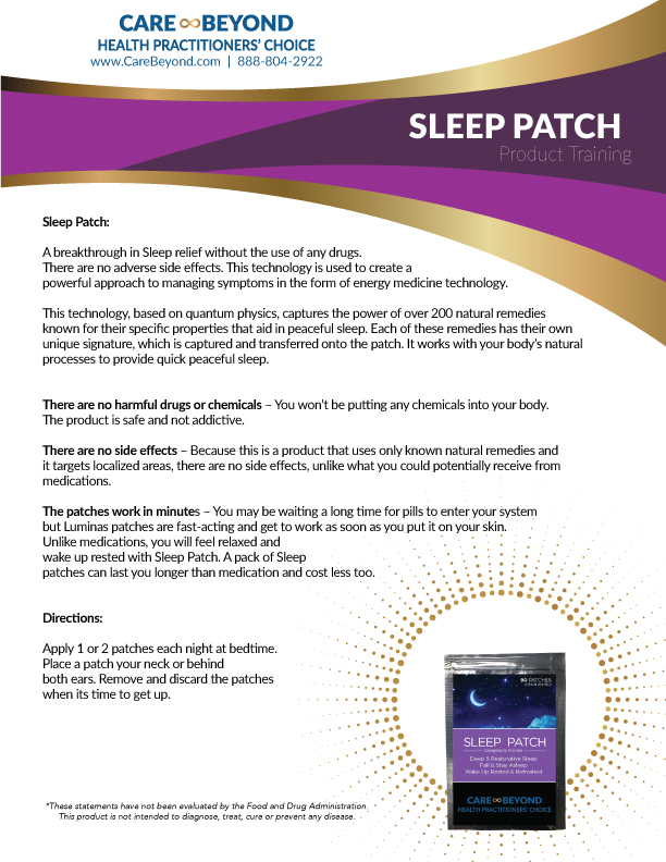 SLEEP PATCH TRAINING SHEET     DOWNLOAD PDF OR PRINT, CLICK HERE