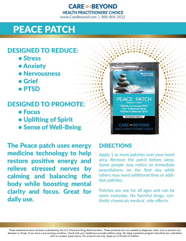 PEACE PATCH PRODUCT SHEET     DOWNLOAD PDF OR PRINT, CLICK HERE