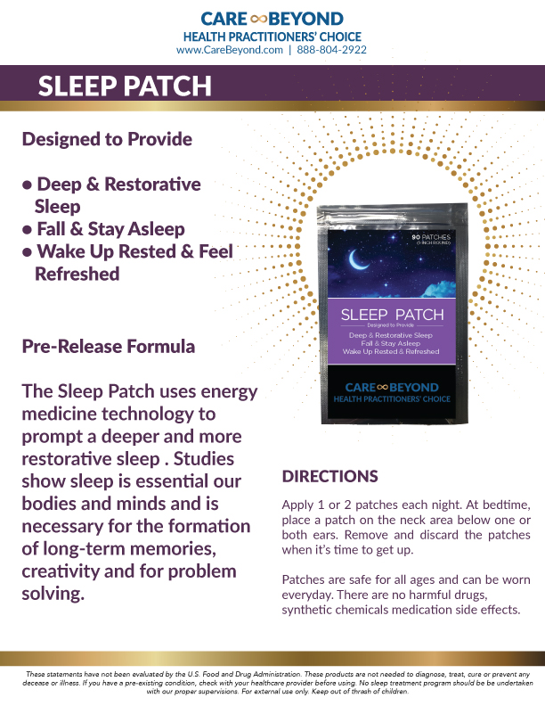 SLEEP PATCH PRODUCT SHEET     DOWNLOAD PDF OR PRINT, CLICK HERE