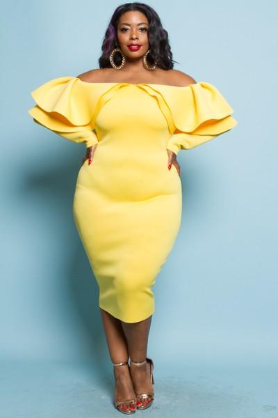 5th Culture 1330-38 Yellow off shoulder ruffle dress.jpg