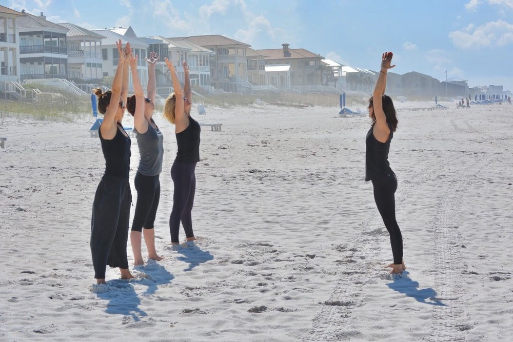 "Avalon Yoga's Beloved ""Alpha Chimp"" Pose, Carillon Beach, Florida."