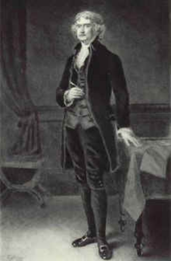 Thomas Jefferson standing, etching by Eliphalet Andrews, 1901