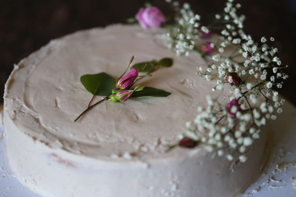 Almond Cake with Wild Rose and Raspbery Mascarpone Frosting