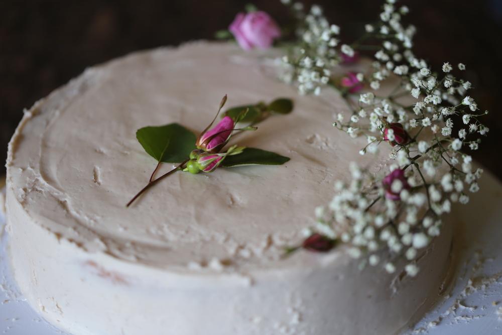 Almond Cake with Wild Rose and Raspbery Mascarpone Frosting