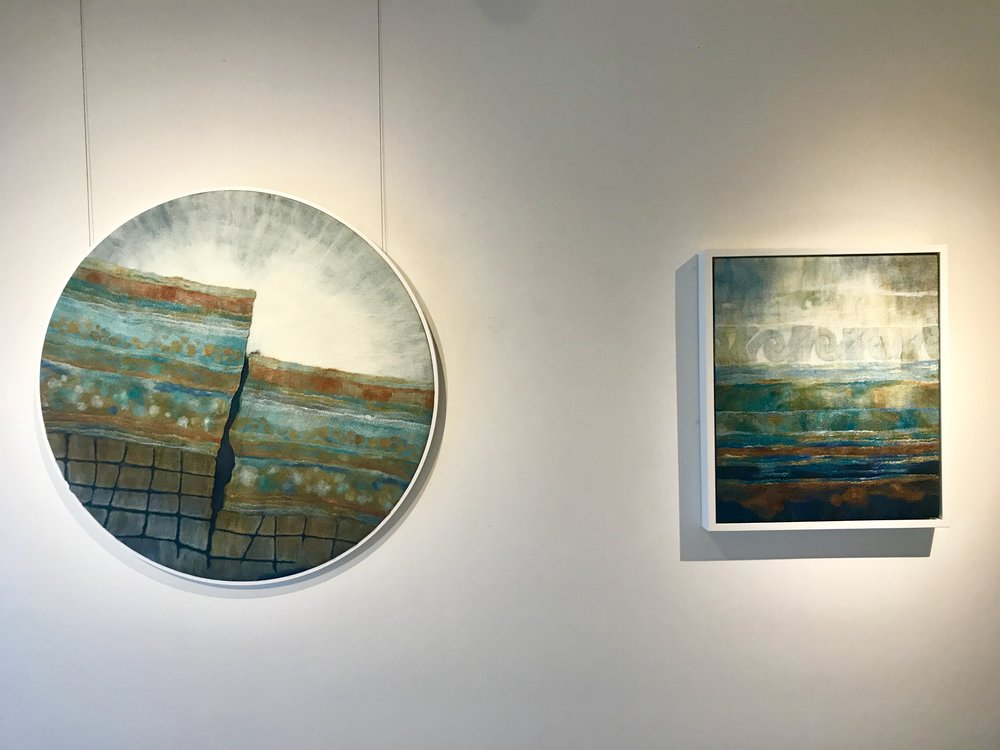 """Kaikoura"" and ""Sediments' Story"" hanging together in curated exhibition The Cutting Edge: Freeing Textiles."