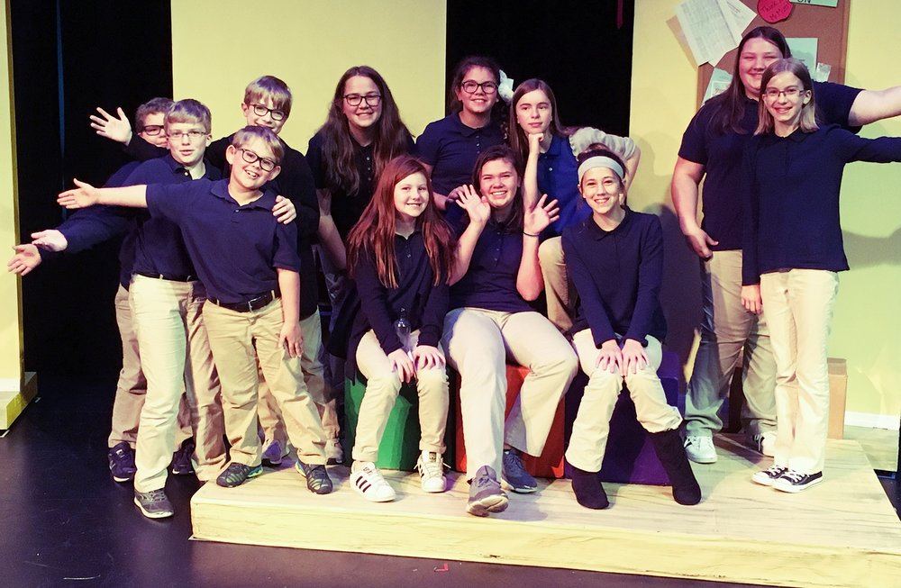 "Christian academy of the bluegrass students took to the stage after  enjoying a performance of ""school house rock"" in october."